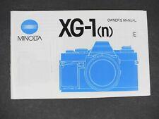 Minolta Xg-1 (n) Camera Manual / Instruction Book / User Guide