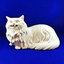 Vintage Large White Cat Figurine Long Hair Persian Rag Doll Himalayan Ceramic 16