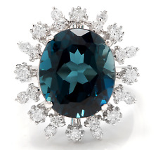 11.80Ct London Blue Topaz and Diamond 14K White Solid Gold Ring