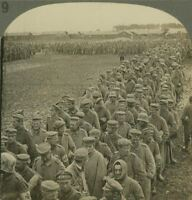 Bringing in 1900 German Prisoners Captured by American Forces - WW1 Stereoview