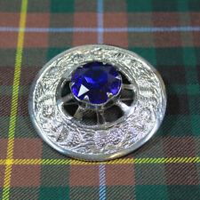 Brooch - Blue Stone - Chrome Finish New Scottish Cape Pin Thistle Design Plaid