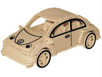 3D Wooden Model Puzzles Assembly DIY Education Childs Toys Beetle Auto Car