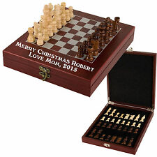 Personalized Engraved Chess Set Custom Customized Chess Board Rosewood Gifts