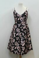 LOUCHE LUXE Ladies Black Sleeveless Floral Print Pleated Skater Bina Dress M