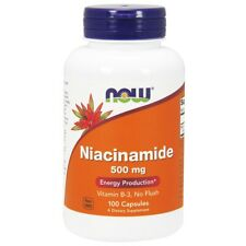 NOW Foods Niacinamide (B-3) 500mg 100 Caps, B Complex,Clearance for dented/stain