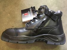 workboots mens zip sider real genuine smooth oily leather black strong workshoes