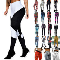 Women Graphics Leggings High Waisted Yoga Sports Pants Run Gym Athletic Trousers