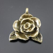 20pcs Antiqued Bronze Alloy Rose Flower Look Pendant Charms Jewelry Accessories