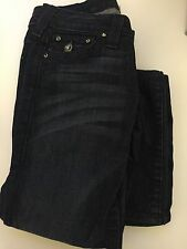 True Religion Blue Straight Jeans with Diamante Buttons - Size 25 USA  Size 7 AU