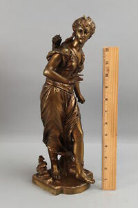 Antique 19thC Victorian Eutrope Bouret Bronze Statue of Diana the Huntress, NR