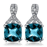 3 Ct London Blue Topaz Rounds Double Stud Earrings 18K White Gold Plated