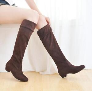 New Womens Block Heels Faux Suede Pull On Knee High Riding Boot Casual Shoes
