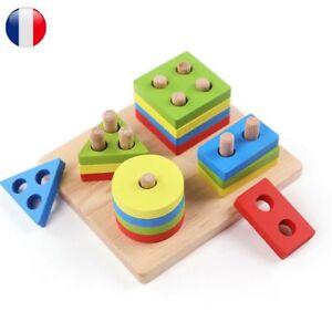 Bébé Enfant Jouet Intelligence Bois Jeu Construction Éducatif Géométrique Puzzle