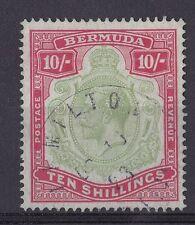 DB193) Bermuda 1918 10/- Green  & Carmine on pale bluish green, SG54