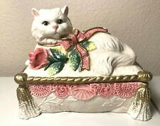 Fitz And Floyd White Cat, Kitten w/Roses & Ribbon Porcelain Vanity Trinket Box