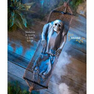 Creepy Motion Activated Animated Sleeping Skeleton In Hammock Halloween Decor