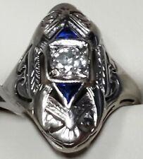 1930's Antique Art Deco 1.80 grms, 18k White Gold 0.13ctw Diamond & Sapphire!