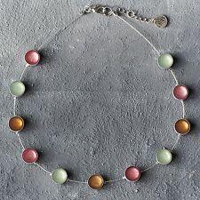 Neu 40cm+5cm EDELSTAHL COLLIER CAPIZ MUSCHEL pastel/rosa/grün/braun HALSKETTE