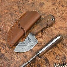 5502 | Black Buck's Damascus Steel Skinning/Hunter/ knife W/Sheath