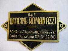 Officine Romanazzi Roma Bari Stemma Rivenditore Targhetta Segno S24