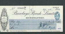 Recuento de leucocitos. - Cheque-CH1163-usado -1935 - Barclays Bank, Hunstanton