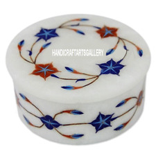 4''x4''x2'' White Round Marble Jewelry Box Lapis Mosaic Collectible Decor H3269