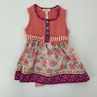 Matilda Jane Girls Tunic Top Size 4 Pink Floral Knit Stretch Tie Back Apron