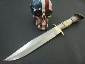 Custom Chuck Stapel Gorgeous Crown Stag Bowie With Signed Wood Stand W Deer Antl
