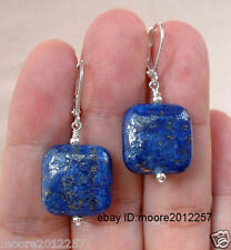 20mm natural Square Dark Blue Lapis Lazuli Sterling Silver Earrings