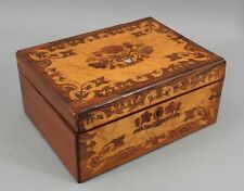 Antique 19thC Marquetry Inlaid Rosewood & Figured Maple Wood Box NO RESERVE
