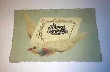 Rare Antique Victorian Holiday Happy New Year Celebration Bird Die Cut / Card!