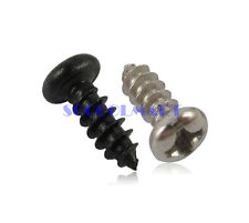 200Pcs M3x8mm Black Harder Phillips Round Head Self Tapping Electronic Screw