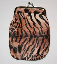 Animal Print Change Purse Clasp Closure Leopard Tiger Zebra Tuscan Tan Rust Deep