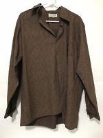Wrangler Eighty Eight Mens Long Sleeve Western Dress Shirt Brown Size Large