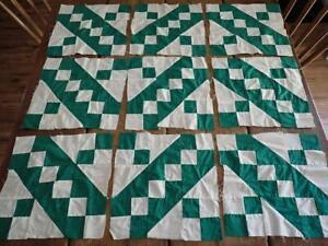Vintage Green & White Jacob's Ladder Quilt Blocks Set of 9
