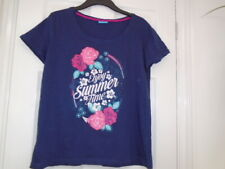 Navy blue cap sleeve relaxed fit summer floral t-shirt top, AVENUE, size 12, NEW
