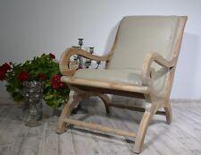 Salon Fauteuil En Cuir et Bois Style Vintage Ancien Relax Marron Clair Decoratif