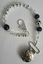 Personalised Baby Boys ❤ Bling Dummy Clip, Pearl & Crystal ❤romany❤football