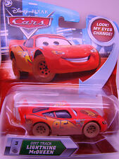 DISNEY CARS DIRT TRACK LIGHTNING McQUEEN #3 WITH EYES THAT CHANGE NEW IN PKG HTF