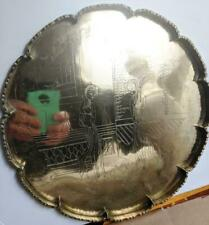 Chinese Etched Brass Tray, Vintage