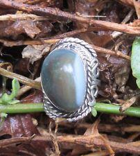 Ring Alpaka Silber Stein Achat grau grün braun gestreift Ethno Indianer Stil 46