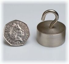 6 x LARGE Silver Neo MAGNETIC HOOKS ~ 30mm x 15mm ~ HEAVY DUTY ~ Pull 28kg