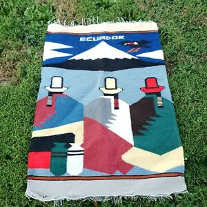 Vintage Hand Knotted Ecuador Pictorial Wool Kilim Area Tapestry Rug 3.1'×2.1'