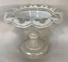 Antique Vintage White Overlay Cut To Clear Compote Pedestal Dish