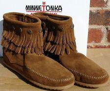 Minnetonka Women's Double Fringe Side Zip Boot- Dusty Brown Suede - 9
