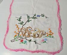 Embroidered Dresser Linen Scarf Table Runner Vintage Squirrels/Chipmunks Flowers