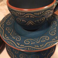 Pier 1 Tunisia Stoneware Cups And Saucers Set Of Four