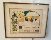 "Vintage French Print ""LOGER LES ETANGERS"" FRAMED IN GOLD"