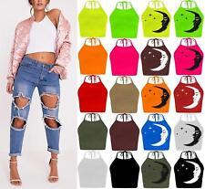 New Womens Cami Tie Up Halter Neck Crop Top Ladies Sleeveless Vest T Shirt Tops