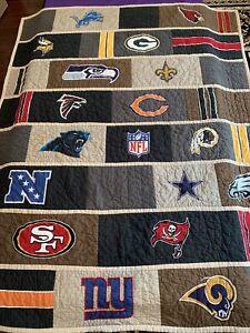 "Pottery Barn Teen NFL NFC Logo Football Quilt Full Patchwork Multicolor 82 x 67"""